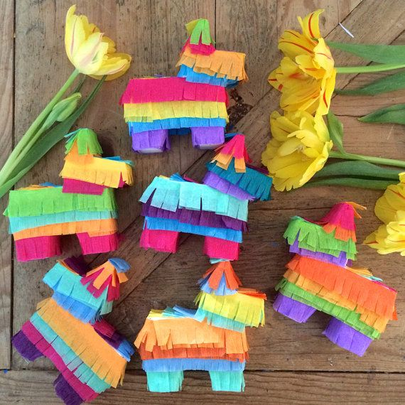 Mini Piñata Decorations for Weddings, Cinco de Mayo, Baby Showers, Parties. Wedding Favor, Fiesta Decoration, Set of 6