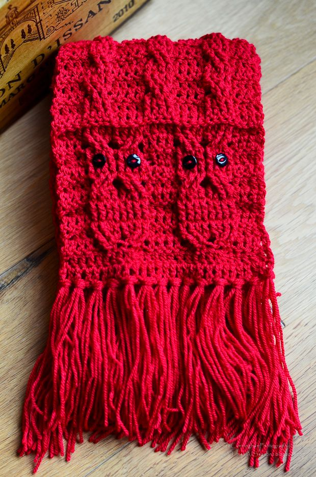 Owl Cabled Scarf By Aimee Lynne - Free Crochet Pattern - (atime4allseasons.blogspot)