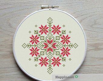 modern cross stitch pattern geometric flower por Happinesst en Etsy