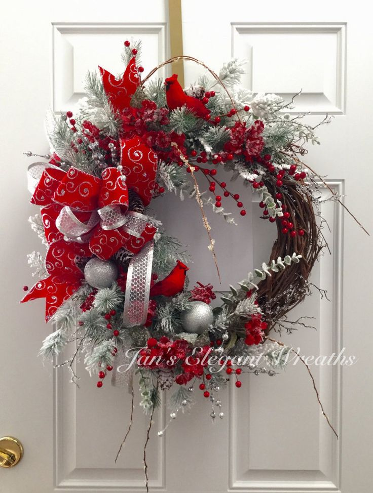 Cardinal Christmas Wreath Red And Silver Snow Flocked Pine Holiday Door Decor Cardinals Sparkly