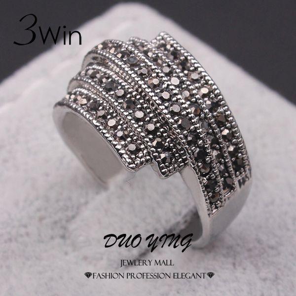 WinWinWin Classical Vintage Ladies Ring Anel Senhor Dos Aneis Tibetan Silver Plated Black Rhinestone Anniversary Rings For Women