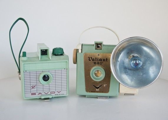 Mint Green Camera Collection  620 cameras by CraftBangBoom on Etsy