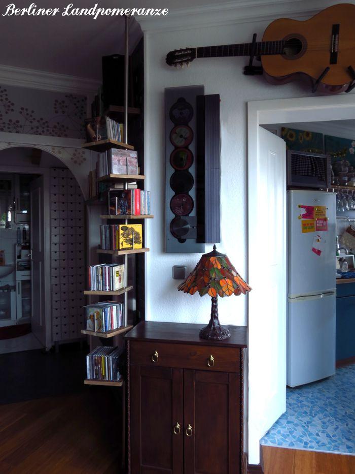 DIY: CD-Regal aus Teleskop-Duschstange  DIY: CD shelf from shower curtain rod