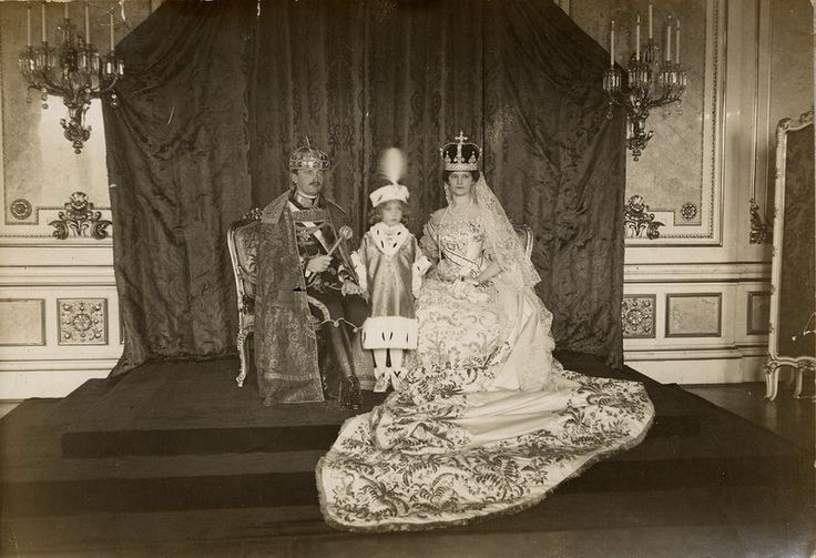 King Charles (Karl) IV and Queen Zita of Hungary, with their son Crown Prince Otto after their coronation. December 1916.