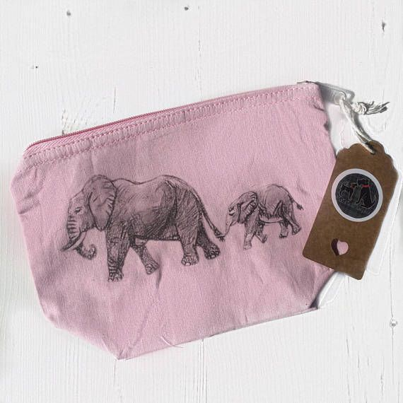 Pink elephant makeup bag elephant family print baby pink