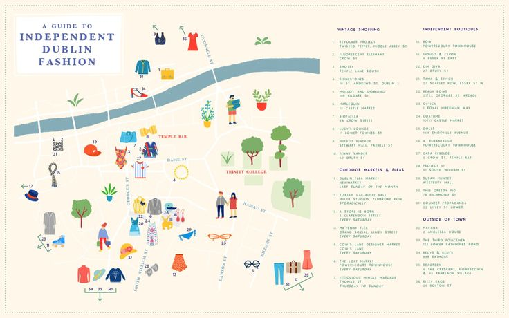 Find fabulous fashion all year round in Dublin. Explore the city's best independent shops in this map! #dublin #fashion #vintage