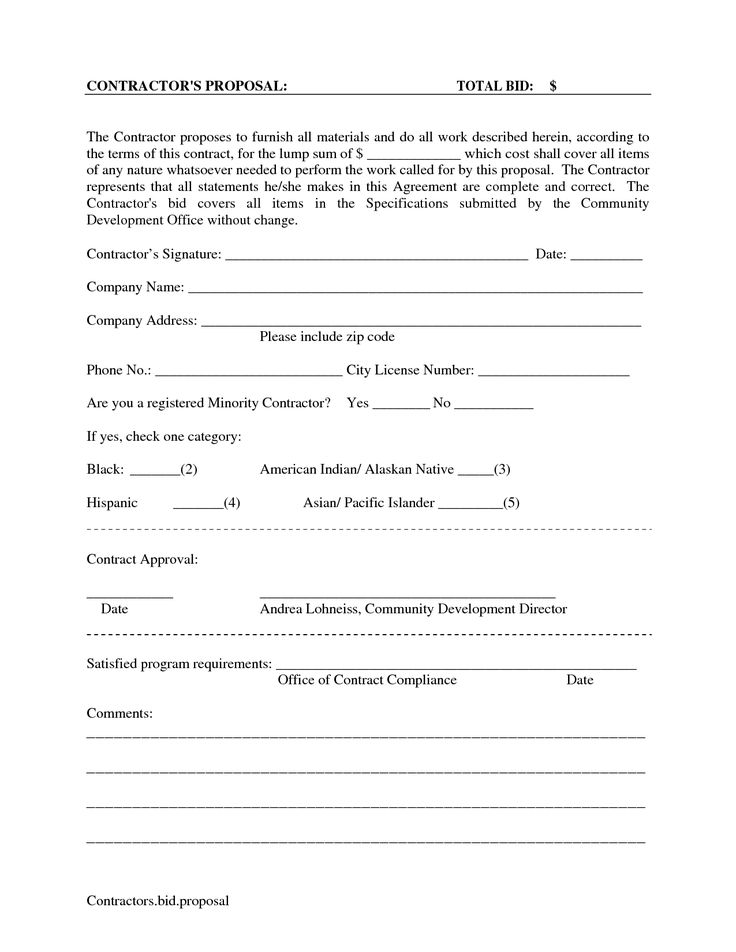 Printable Blank Bid Proposal Forms | scope of work template
