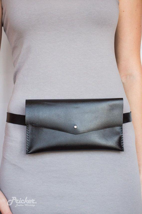 Women Black Leather Slim Fanny Pack PBFP-06/Hip by PrickerWorkshop
