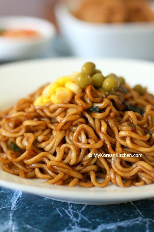 Jjapaguri (Korean Instant Noodles - Jjapaghetti and Neoguri combined) then add mayo, green peppers, and fish (for a twist)