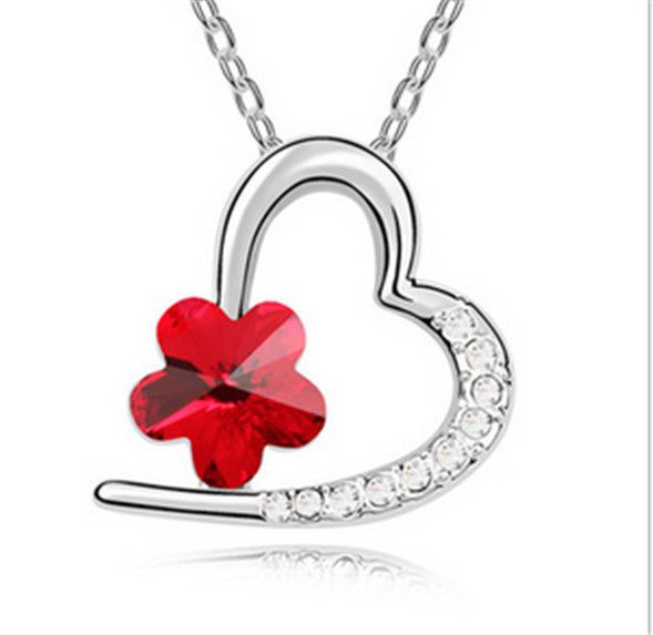 Womens Fashion Jewelry Silver Plated red Crystal Pendant Heart Charm Necklace - https://barskydiamonds.com/necklaces/