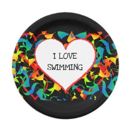I Love Swimming Sports Editable Modern Abstract Paper Plate - modern gifts cyo gift ideas personalize