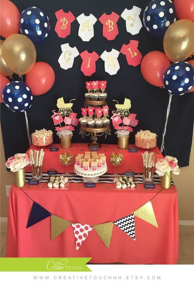 Coral, navy, and gold baby shower party! See more party ideas at http://CatchMyParty.com!