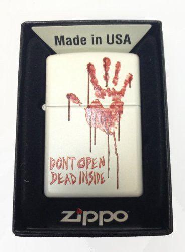 Zippo Custom Lighter - Bloody Dead Zombie Hand Don't Dont Open Dead Inside' White Matte Rare!