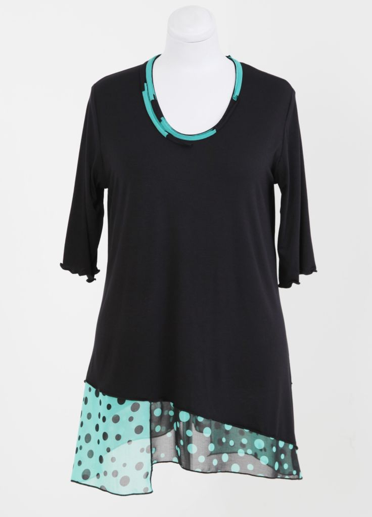 Black Viscose Top with Chiffon detail designed and manufactured by HAYLEY JOY. Sizes M - 5XL. R799. Like us on Facebook at Hayley Joy Shop