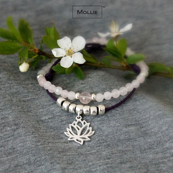 Bracelet set with lotus charm made of silver 925 and rose quartz / designed and produced in Poland