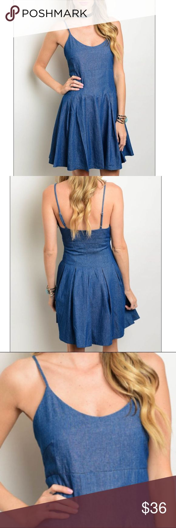 """Blue denim mini dress w/spaghetti straps This denim dress features spaghetti straps, a round neckline and an a-line silhouette. Perfect with flats heels, sneakers or sandals. Fabric Content: 100% COTTON Size Small measurements: L: 35"""" B: 34"""" W: 34"""" Trendy boutique Dresses Mini"""