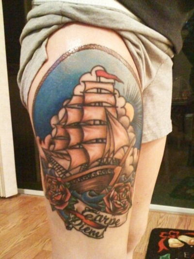 ship: Second Tattoo, Ship Tattoos, Twisted Tattoos, Inked Traditional, Tattoo Inspiration, Tattoo Art, Tattoo Legs, Art Tattoos, Pirates Pirate Ships Boats