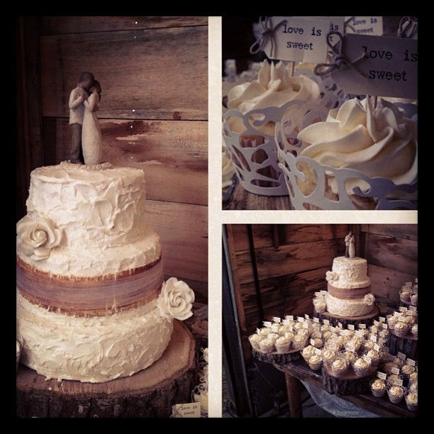 - Rustic wedding cake adorned with burlap made from fondant, willow tree statue and sugar roses paired  with 100 lace cupcakes
