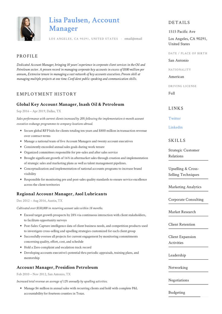 Account Manager Resume Template in 2020 Resume examples