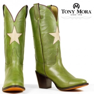 Green Tony Mora - bone star- Ladies Fashion Cowboy Boots