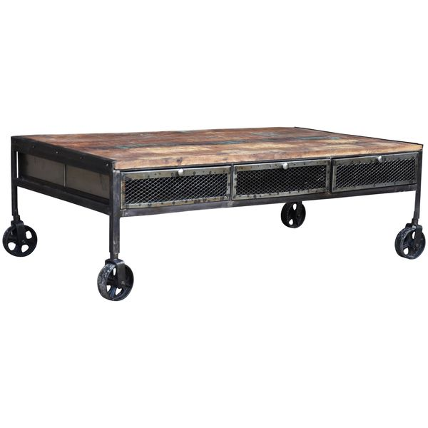 Handmade Wanderloot Industrial Metal Mesh Drawer Reclaimed Wood Coffee Table With Caster Wheels