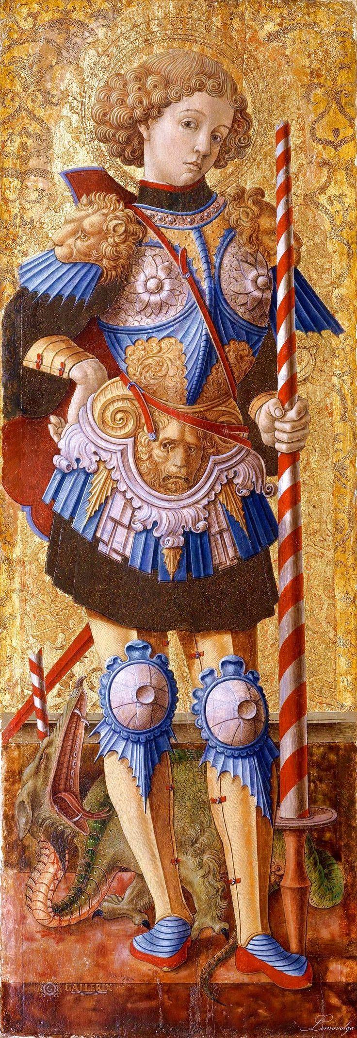 Карло Кривелли, известен с 1457 - умер 1493 Асколи-Пичено) Святой Георгий талия, Венеция (1472; Темпера на дереве, золотой фон; (96,5 х 33,7 см)   Музей Метрополитен