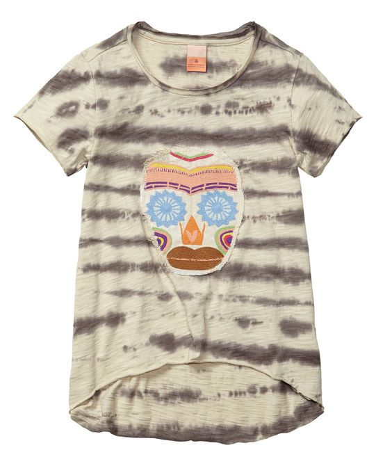 T-shirt A-line con teschio ricamato e colorazione speciale