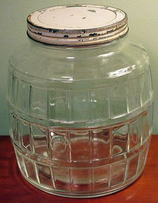 Old Vintage Antique Barrel Glass Kitchen Hoosier Pickle Jar.  I love old jars like this.  I fill them with old fashioned Christmas candy during the holidays.