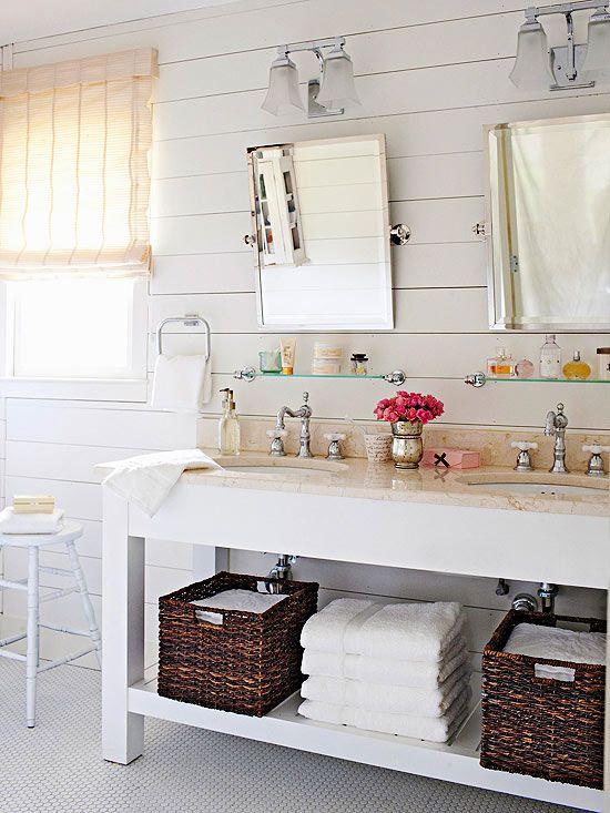 Beautiful Open Vanity Storage (click over for 3 budget bathroom renovations!)