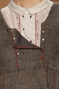 Redwork embroidery embellishes the plackets of these tops from tm collection