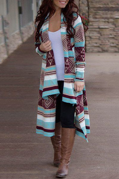 Stylish Collarless Long Sleeve Spliced Desert Bloom Cardigan For Women