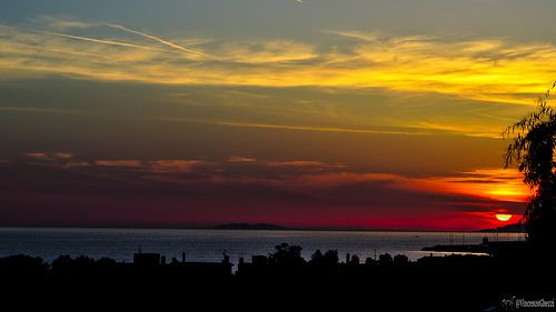 Civitavecchia Sunset and silhouette of the island Giglio