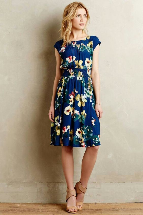 SPRING & SUMMER FASHION TRENDS 2017! BLUE FLORAL DRESS.