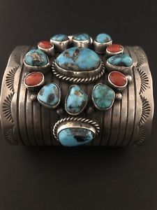 Navajo Sterling Silver Turquoise Coral Cuff Bracelet.. Charlene Yazzie | eBay #SterlingSilverTurquoise