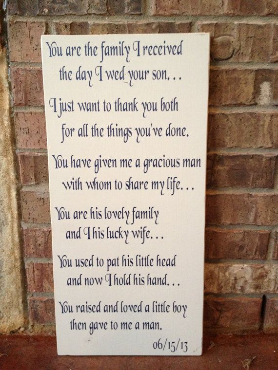Wedding Gifts For Father In Law : Customizable Mother-In-Law and Father-In-Law Wedding Gift Wood Sign