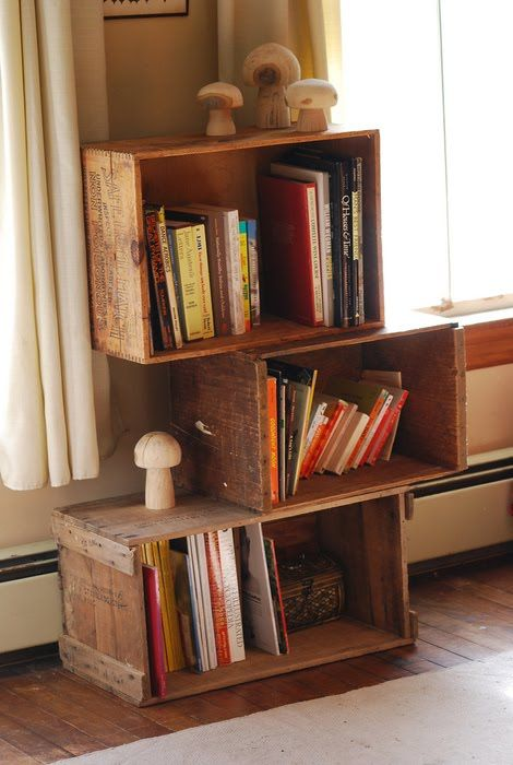 120 best images about decorating with apple wooden crates for Decorating with milk crates