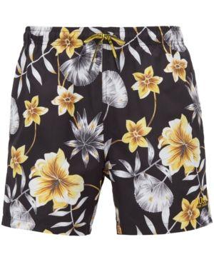 30dac1f66b Boss Men's Floral-Print Swim Shorts - Gray L Mens Swim Shorts, Hugo Boss