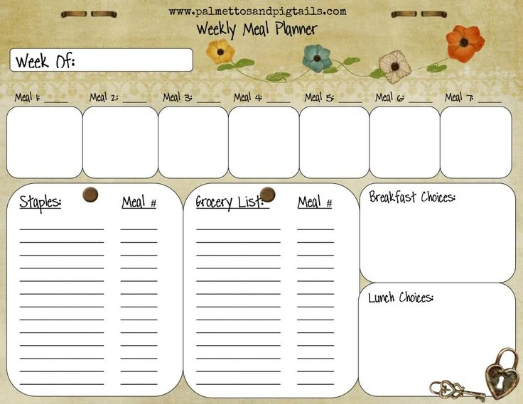 The 25 best Meal planner template ideas on Pinterest Meal