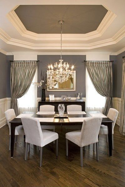 Contemporary Dining Room with Wainscoting, Trey ceiling, Draped curtains, Crown molding, Chandelier, Sheer curtains