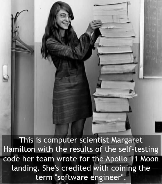 Her code prevented an abort of the Apollo 11 Moon landing. Image: Wikimedia #software #engineer