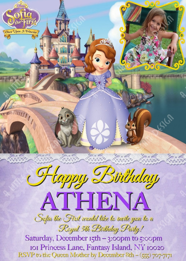 PRINCESS SOFIA the FIRST Custom Personalized Birthday Invitation with or without your picture, Disney, Inspired. $9.00, via Etsy.