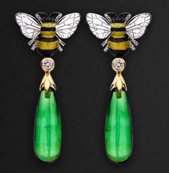 Spring Green Tourmaline, Diamond Bee, Enamel and 14K Yellow & White Gold Drop Earrings by Theo Fennell.