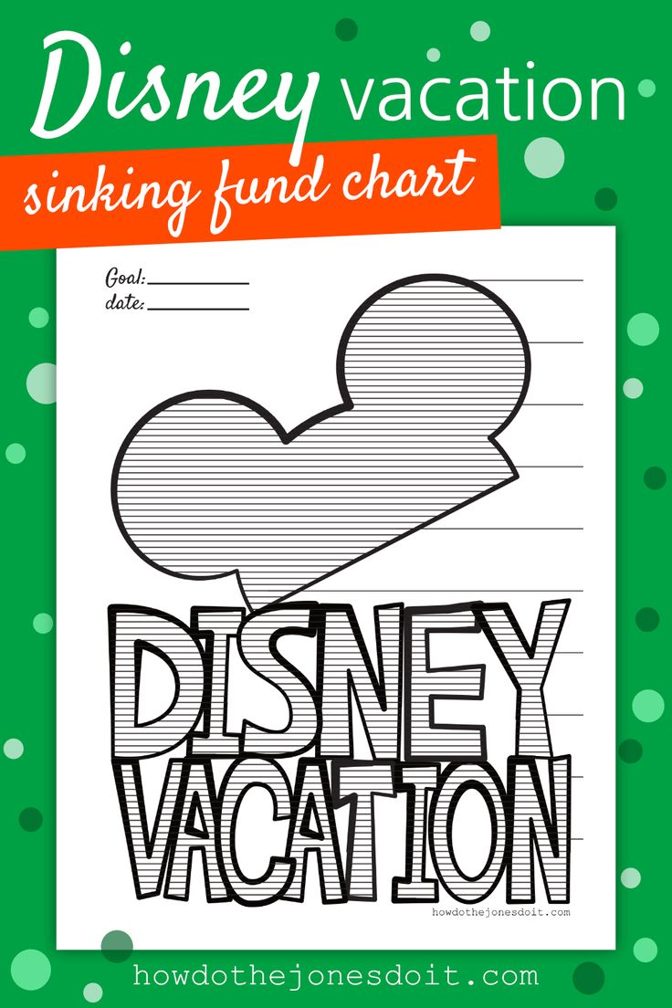 Have you been dreaming of a Disney Vacation? That's what Sinking Funds are for! We have a Disney Vacation Sinking Fund chart just for you! It's the Sinking Fund the whole family will get on board with! #DisneyVacation #disneysinkingfund  #sinkingfund #SunshineAndRainyDays #SARD