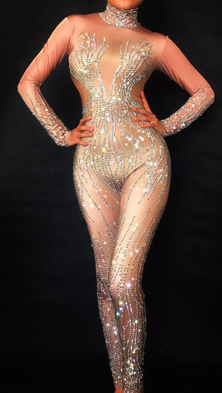 Sparkly Silver Rhinestones Nude Bodysuit Sexy Nightclub Bar Wear Full  Crystals Jumpsuit Costume Prom Birthday Celebrate Outfit. c791fe2316cb