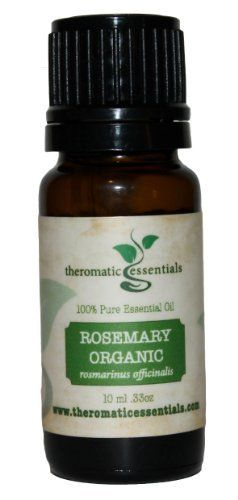 Rosemary Organic 100% Pure Therapeutic Grade Essential Oil (10ml) by Theromatic Essentials. Save 60 Off!. $5.95. Available in 10ml - Packaged in dark amber glass bottle with euro style dropper cap. Botanical Name: Rosmarinus officinalis. 100% Certified Pure Therapeutic Grade Essential Oil- no fillers, additives, bases or carriers added.. Each bottle has a QR (Quick Response) code that can be scanned from your smart phones for more product info.. Aromatic Description: Fresh, herbaceo...