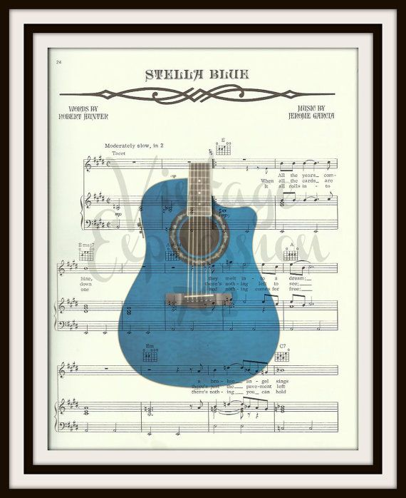 Grateful Deads Stella Blue on original song sheet. You will receive the print creation without the watermark. Framed art is a sample only.