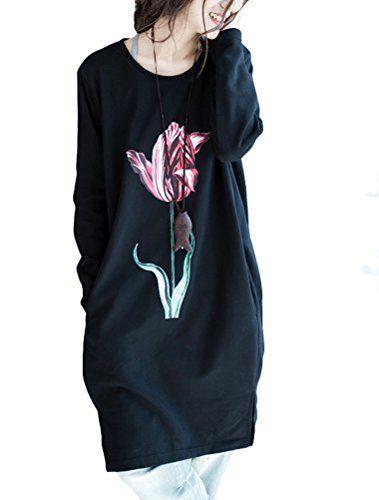 a1792a7a8aa Mallimode Femme Robe Manches Longue Col Rond Imprimé Pullover Longue T-Shirt  Ample Casuel Noir