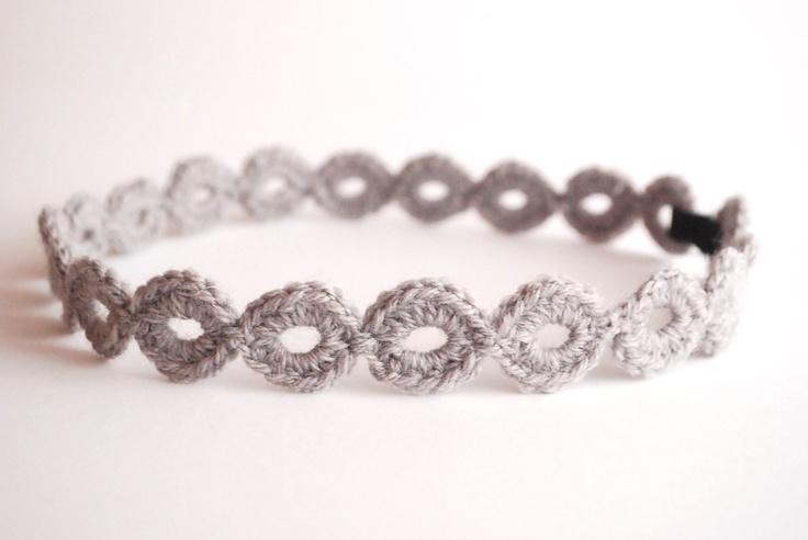 Crocheted LIght Grey Headband Hair band Fashion Accessory Trend 2013. €12,00, via Etsy.
