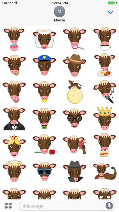 Brown Cow Emoji Stickers for iMessage by Marisa Marquez