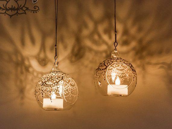 Hanging Glass globes Mandala flameless candle by NadbradDesigns